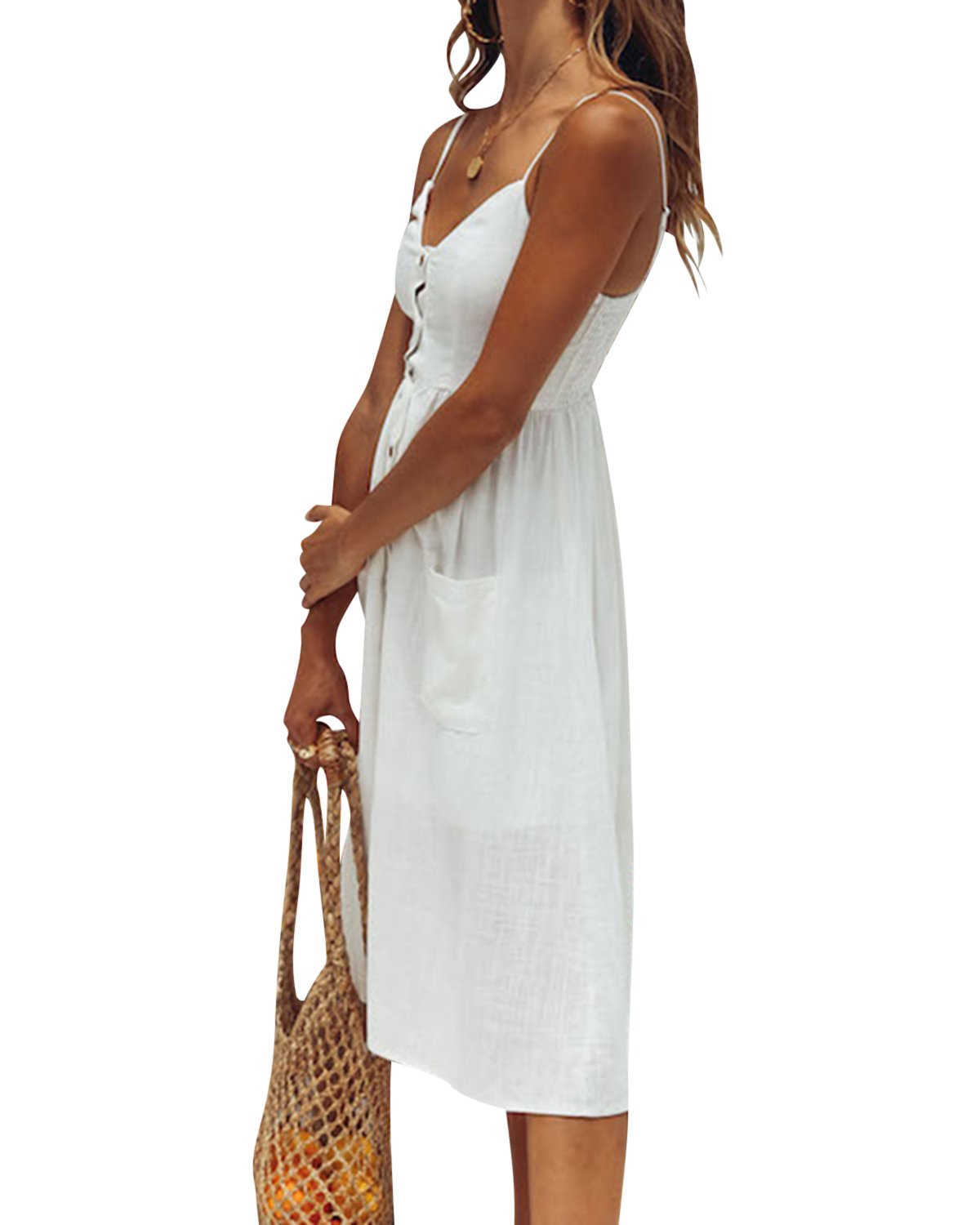 Jacansi Women Bohemian Sleeveless Backless Knee-Length Button up Midi Dress with Pocket White L by Jacansi (Image #3)