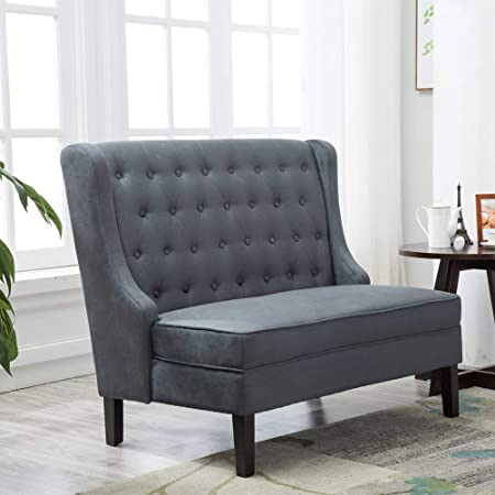Andeworld Tufted Loveaseat Settee Sofa Bench for Dining Room Steel Gray