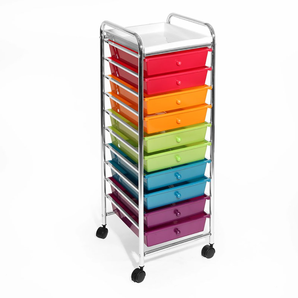 Seville Classics 10-Drawer Organizer Cart, Pearlescent Multi-Color by Seville Classics
