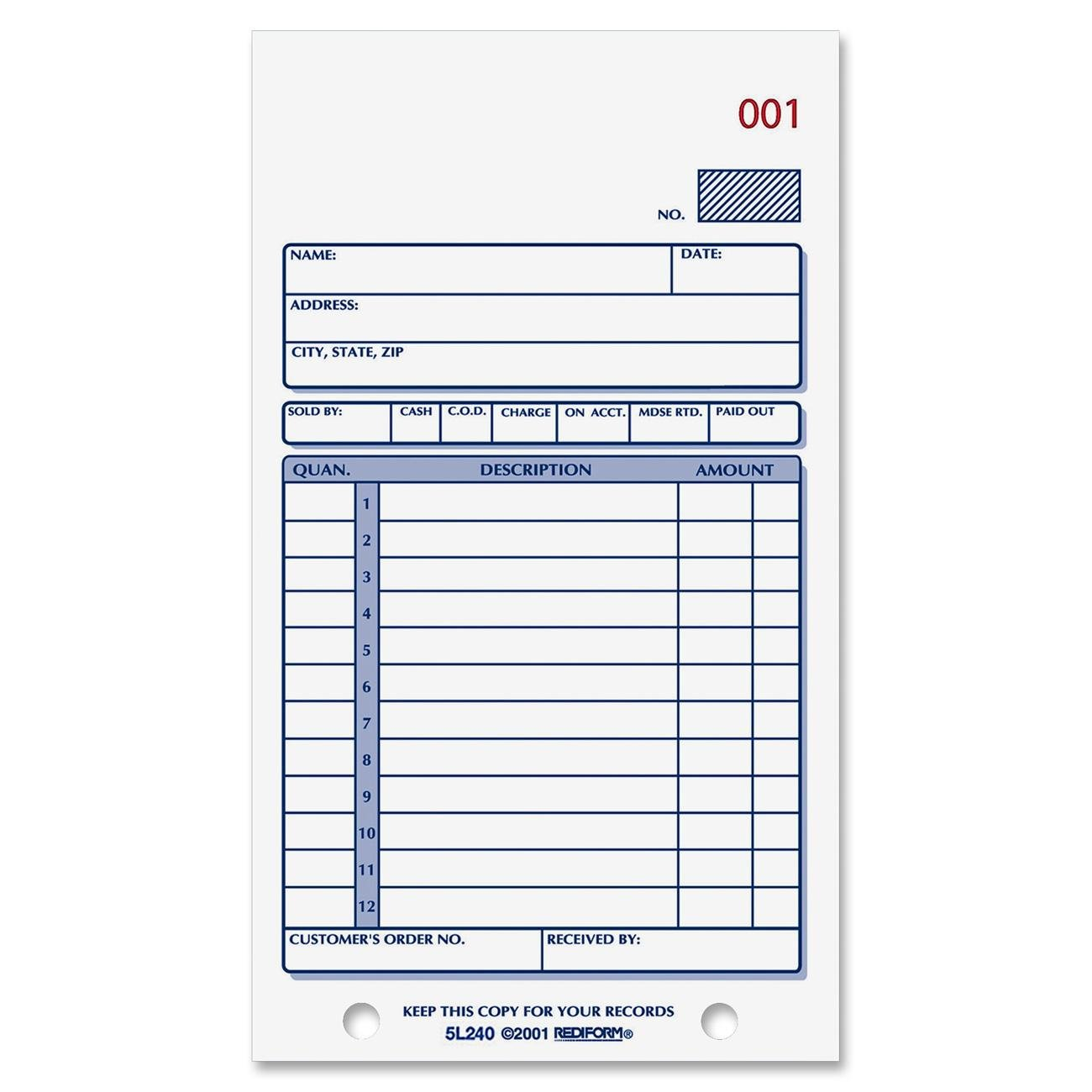 Rediform Sales Order Book, Carbonless, 2 Part, 3 625 x 6 375 Inches, 50  Forms (5L240)