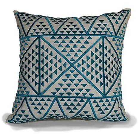 La marca hecha a mano de lino azul bordado Cojín decorativo ...