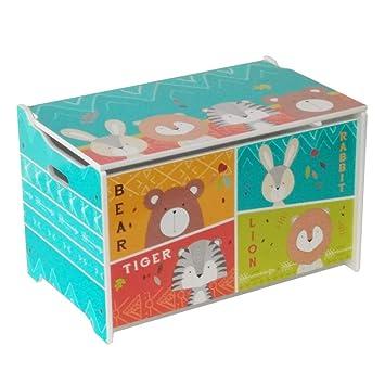 ODT Hansemag - Juguetes Juguete Cajas Juguete Caja Caja Caja para Juguetes, Oso, Conejo, Tiger y León Madera, 60 x 36 x 39 cm: Amazon.es: Juguetes y juegos