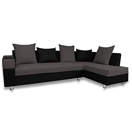 Superb Adorn India Adillac 5 Seater Corner Sofa Right Side Grey Black Download Free Architecture Designs Photstoregrimeyleaguecom