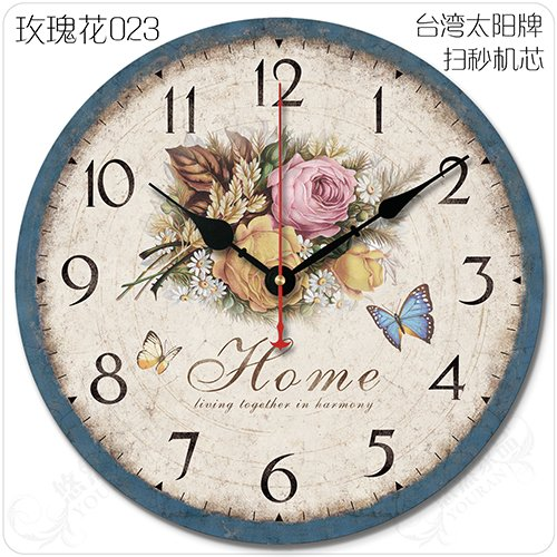 Znzbzt Simple Creative Mute Wall Clock Retro American Big Living Room European-Style Garden Minimalist Classic Decor to Create The Home Wall Clock, 20 inch, 023 Roses (So