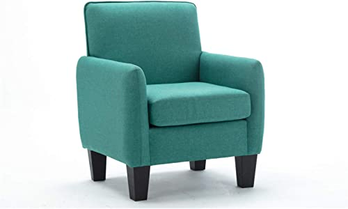 Lilola Home Mia Linen Fabric Contemporary Modern Padded Single Sofa Comfy Upholstered Accent Arm Chair Side Chair Mia Green
