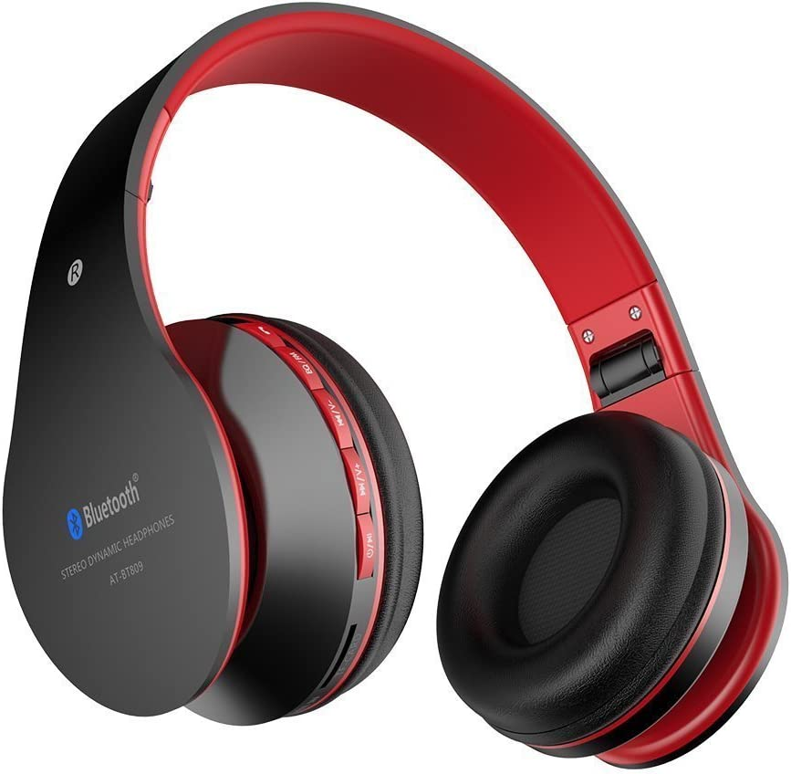 Wireless Headphones Aita BT809 on Ear Bluetooth Noise Cancelling Headphones, Foldable Headset Gaming Running Sport Earphones with Mic for iPhone, tv, Tablet, MP3 etc. Fit for Adults Teens Kids (Red)