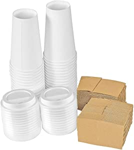 Disposable Coffee Cups with Lids 16 oz – Pack of 50, Cold / Hot Beverage Paper Cups with Sleeves