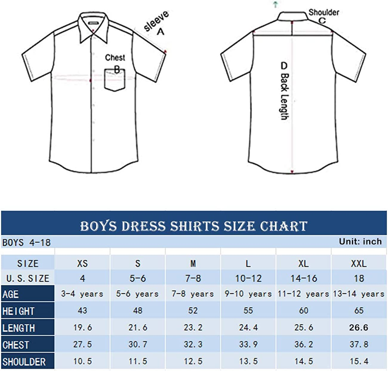 3-14 Years Spring/&Gege Boys Long Sleeve Uniform Cotton Twill Button Down Shirt for Children