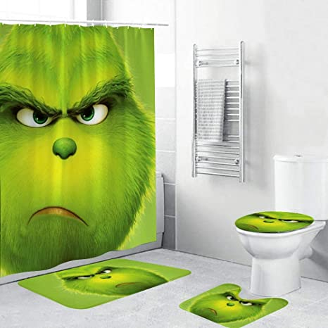 Toilet Lid Cover and Bath Mat NIAMH PAGE 4 Piece The Grinch Movie Christmas Shower Curtain Sets with Non-Slip Rugs Durable Waterproof Shower Curtains with 12 Hooks 70.9x70.9 inch