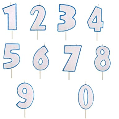 Vela de cumpleaños (Número 1 - Azul claro - Purpurina para ...