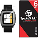 [6 Pack] Spectre Shield Pebble Time Screen Protector Accessory Screen Protector for Pebble Time Case Friendly Full Coverage Clear Film