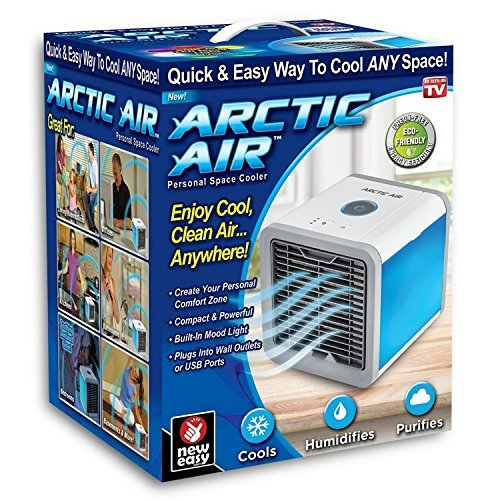 Arctic Air Personal Space Cooler, Portable Air Conditioner, Humidifier and Purifier, Desktop Cooling Fan with 3 Speeds and 7 Colors LED Night Light for Office Home Outdoor Travel   As Seen On TV