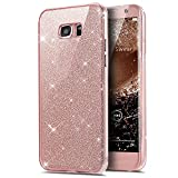 Galaxy S7 Case,ikasus [Full-Body 360 Coverage Protective] Crystal Clear 2in1 Sparkly Shiny Glitter Bling Front Back Full Coverage Soft Clear TPU Silicone Rubber Case for Samsung Galaxy S7,Rose Gold
