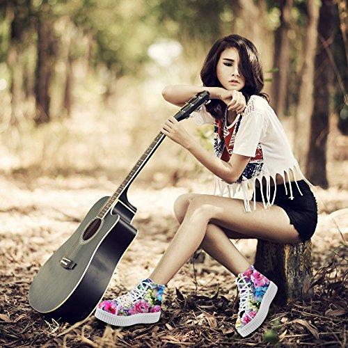 Bigcardesigns Femmes Classique Multicolore Design Floral Décontracté Extérieur Plat Chaussures Sneakers Multi-color6