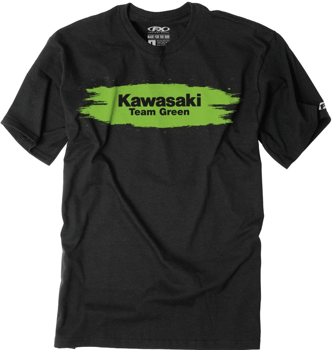 Factory Effex 2019 Youth Kawasaki Team Green T-Shirt (Small) (Black)