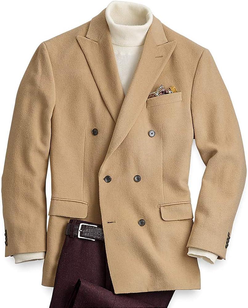 Paul Fredrick Mens Classic Fit Camel Hair Double Breasted Peak Lapel Sport Coat