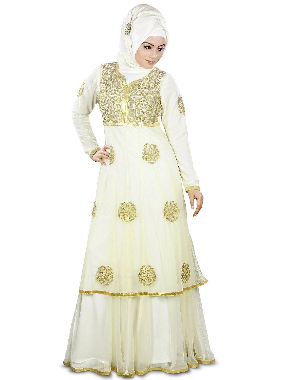 MyBatua Women's Islamic Designer Beautiful Abaya For Wedding Dress in Ivory