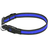 Collar LED para perro (S (35 - 40 cm), Azul) - Collar recargable USB para mascotas que brilla intensamente con LED de…