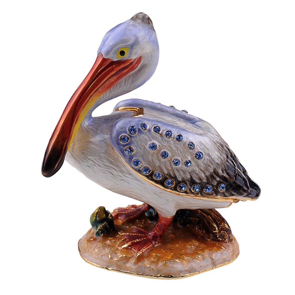 Enameled & Crystal Pelican Bird Ring Treasured Jewelry Box Metal Tabletop Wedding Gift Decor