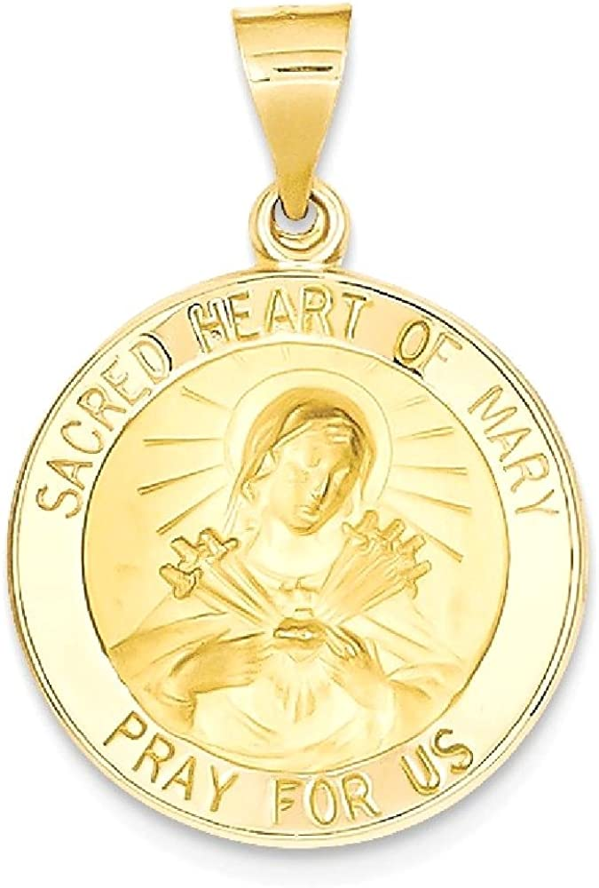 14k Yellow Gold Sacred Heart Of Mary Medal Pendant Charm Necklace Religious Fine Jewelry For Women Gifts For Her 61HWXhIwpsLUL1000_