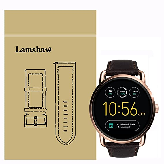 Lamshaw Leather Strap Replacement Band for Fossil Q Wander Smartwatch Strap (Coffee)
