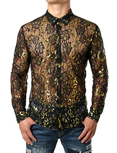 JOGAL Men's See Through Flower Lace Sheer Blouse Long Sleeve Button Down Shirts Small Black ()