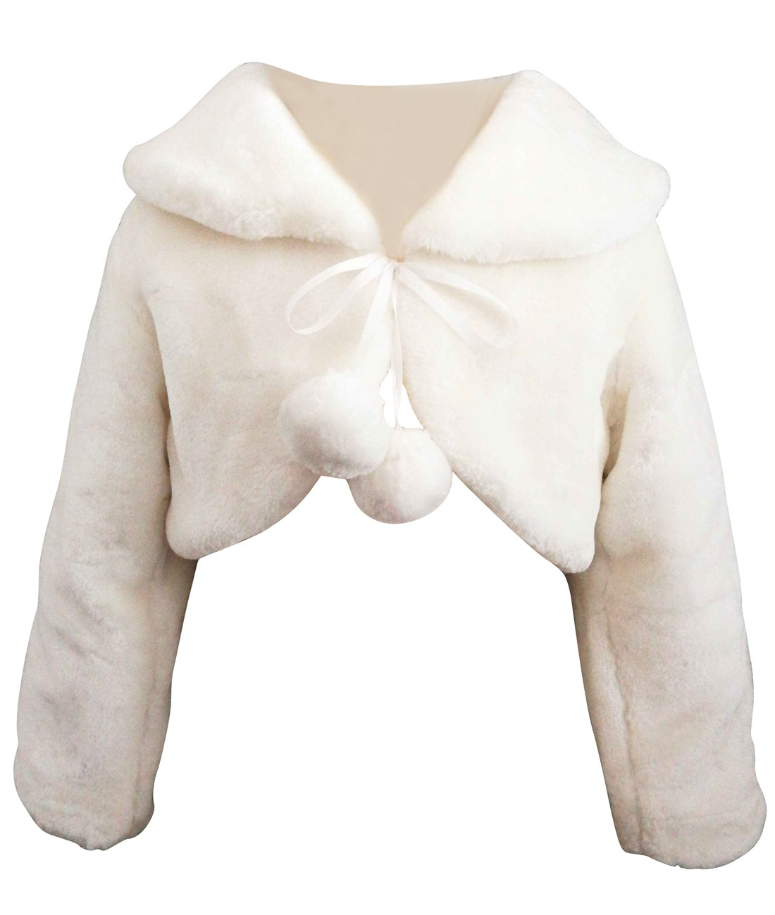 Funtrees Ivory Flower Girl Cape Wedding Party Wrap Bolero Jacket