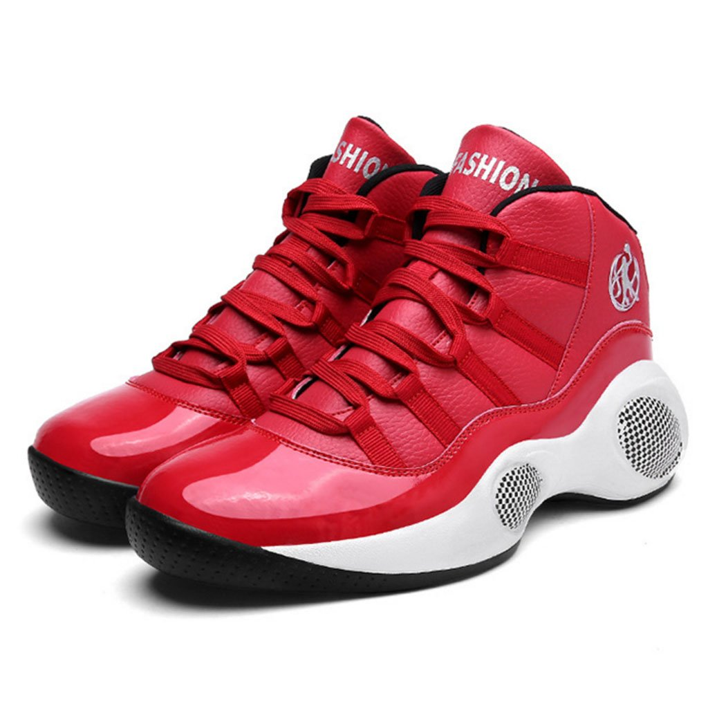 GAOLIXIA Hombres PU Al aire libre Turismo Zapatillas Zapatillas altas Baloncesto Zapatillas Entrenadores Gimnasio Zapatos de fitness Negro Rojo Blanco (Color : Rojo, tamaño : 41) 41|Rojo