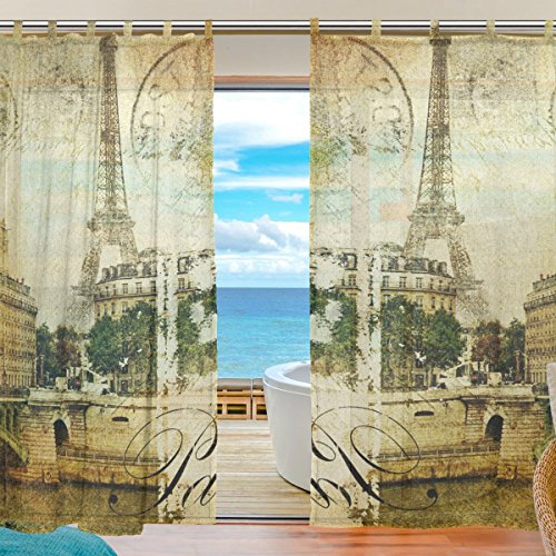 Paris Panel Bed - INGBAGS Bedroom Decor Living Room Decorations Paris Vintage Pattern Print Tulle Polyester Door Window Gauze / Sheer Curtain Drape Two Panels Set 55x78 inch ,Set of 2