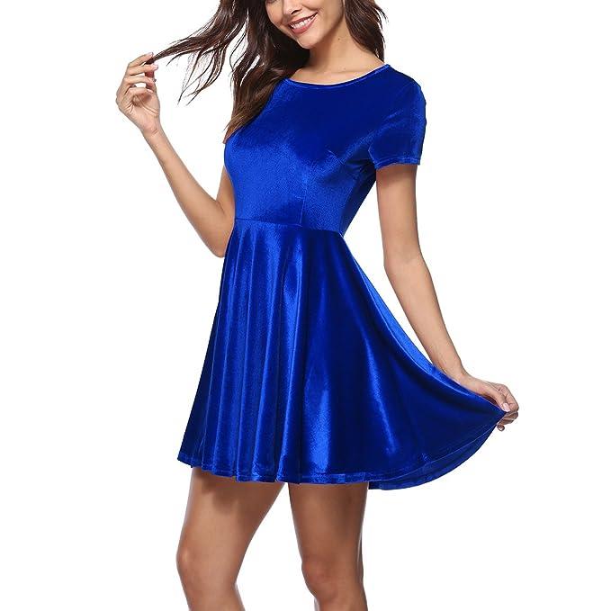 BAINASIQI Mujeres Mini Vestido de Noche Vendimia Elegante Vestido de Cóctel Corto (azul, S