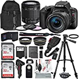 Canon EOS Rebel SL2 DSLR Wi-Fi Camera with EF-S 18-55mm STM Lens (Black) Bundle w/ Flash + Remote + Lenses + Filters + 32GB + Backpack + Xpix Tripods & Cleaning Kit