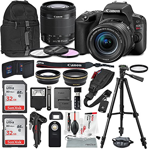 Canon EOS Rebel SL2 DSLR Wi-Fi Camera with EF-S 18-55mm STM Lens (Black) Bundle w/ Flash + Remote + Lenses + Filters + 32GB + Backpack + Xpix Tripods & Cleaning Kit External Viewfinder