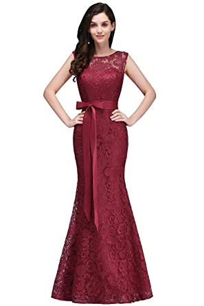 3e56b41ebfc17d Babyonlinedress Elegant Lace Long Formal Evening Prom Dresses for Wedding  Party(Burgundy