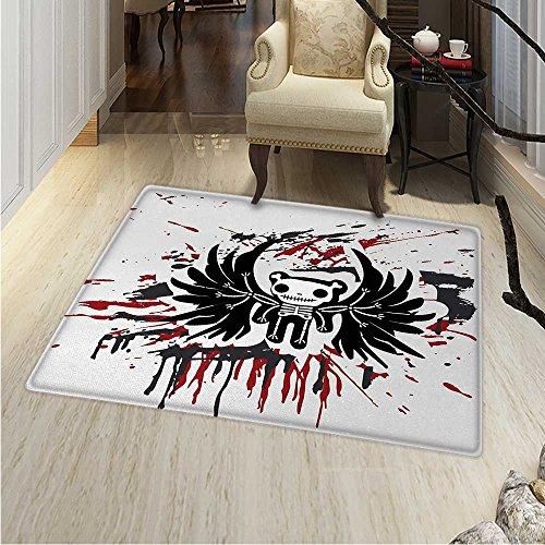 Halloween Rugs Bedroom Teddy Bones Skull Face Wings Dead Humor Funny Comic Terror Design Circle Rugs Living Room 4'x5' Pearl Black Ruby