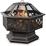 New Outdoor Black Brown Backyard Patio Deck Hex-Shaped Lattice Wood Fire Pit (item_by#lordtomlin it#186262396912923