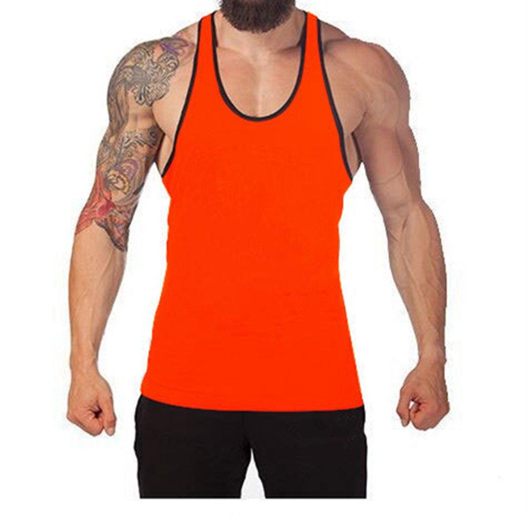 Q&Y Men's Cotton Blank Stringer Y Back Cotton Workout Stringer Gym Tank Tops