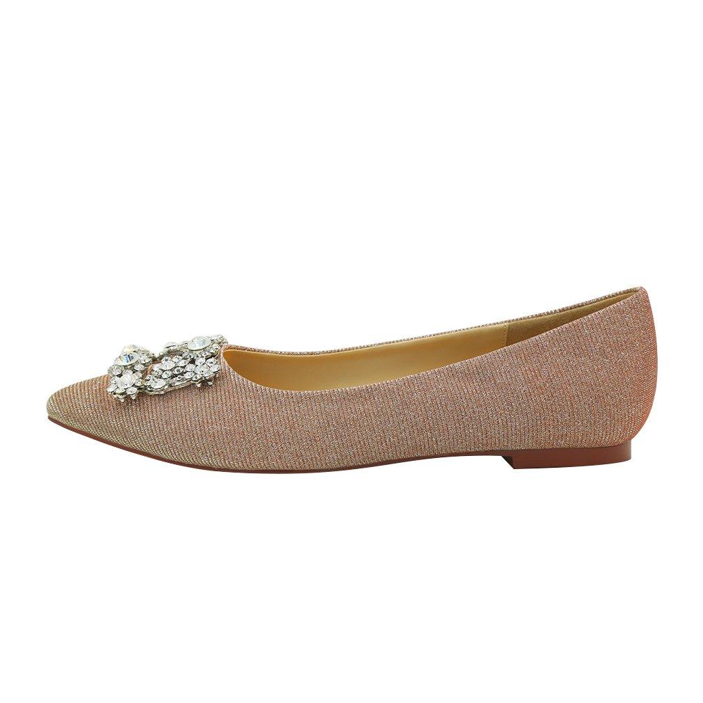 ERIJUNOR Women Comfort Pointed Toe Rhinestone Glitter Slip Ballet Wedding Flats Shoes for Bride B079BGJJW5 7 B(M) US Blush