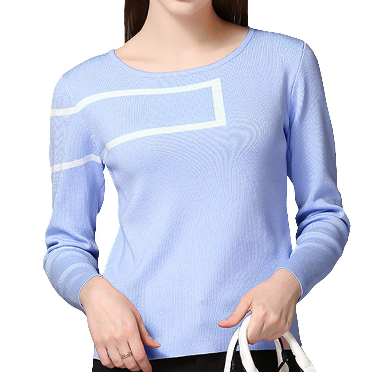 DISSA S7619789 Women Long Sleeve Solid Coloured Slim Top Pullover Knitwear Sweater