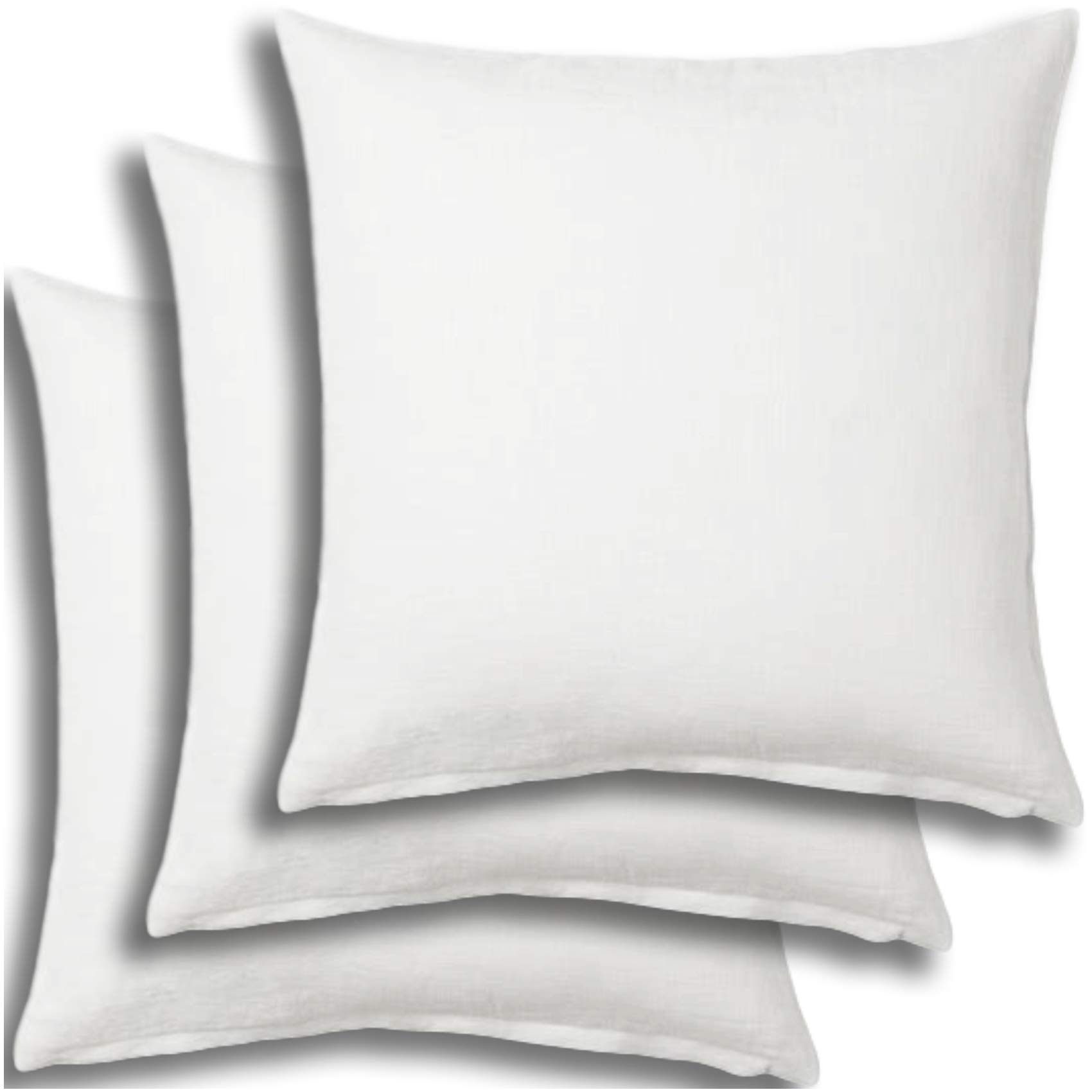 Set of 3 - Pillow Insert 28x28 Decorative Throw Pillow Inserts - Euro Sham Stuffer for Sofa Bed Couch Square White Form 3 Pack - Hypoallergenic Machine Washable and Dry Polyester - Made in USA