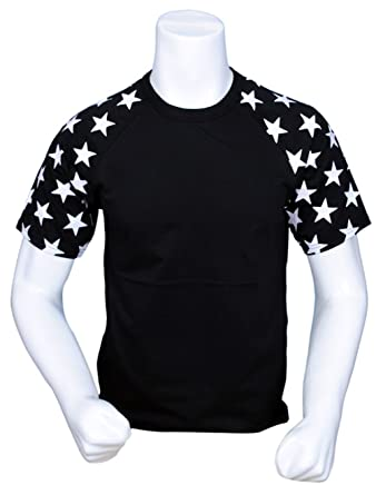 2441d8978 ILTEX Star Short Sleeve Raglan Baseball T-Shirt Adult July 4th (Black/Black