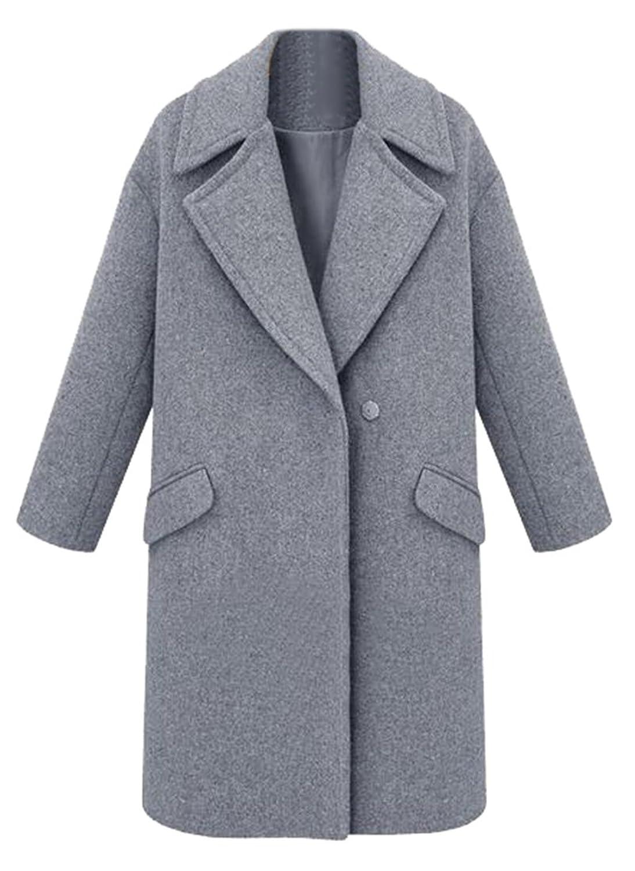 CFD Womens Winter Lapel Solid Woolen Jacket Coats