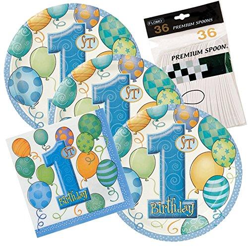 32 Dessert Plates & Napkins (1st Birthday (Boy Cake Plates)
