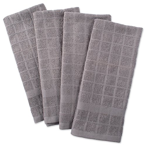 DII Cotton Terry Windowpane Dish Towels, 16 x 26 Set of 4, Machine Washable and Ultra Absorbent Kitchen Bar Towels-Solid Gray