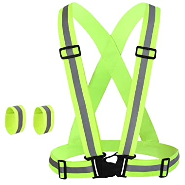K-Brands Reflective Vest for Safety High Visibility All Day and Night for Running, Biking and More, Unisex (1 Vest, 2 Arm Bands)
