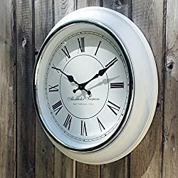 The Classic Analog White Wall Clock, Italian Style, Sant' Ambrogio, Quartz Movement, Roman Numerals, Over 1 Ft Diameter, Requires 1 AA Battery (Not Included), By Whole House Worlds