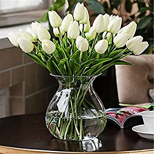 JJH 1 Branch PU Real Touch Tulips Tabletop Flower Artificial Flowers 2