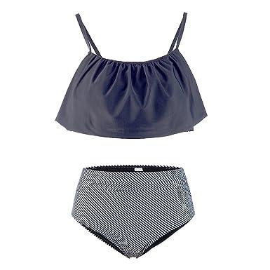 3b65cf9f1c Amazon.com: Lemef Falbala Bathing Suit High-Waisted Bikini Thin Shoulder  Straps Swimsuit for Women: Clothing