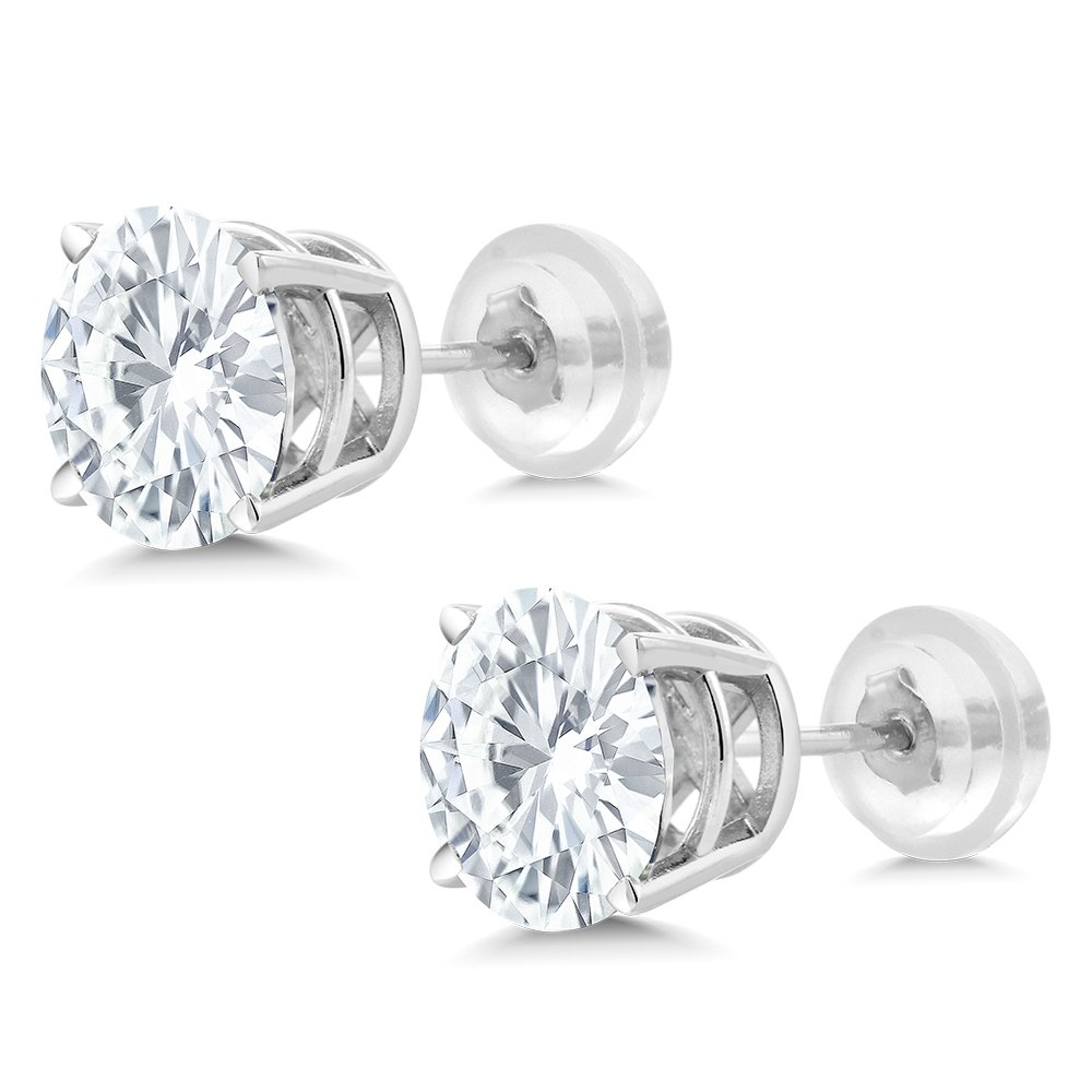 Charles & Colvard Forever One Moissanite 6.5mm 14k White Gold Friction Back Round 4 Prong Stud Earrings 2ct Diamond Equivalent Weight (1.85 cttw, D-E-F, VS-100% Eye Clean) by Gem Stone King (Image #4)