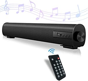 Sound Bar for TV Portable Audio Soundbar with Dual Built-in Subwoofer Surround Sound System Mini Home Theater 2 X 10W Bluetooth 5.0 Wired & Wireless AUX/RCA Outdoor Stereo Speaker for PC/Phone/Tablets