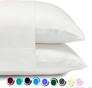4x Comfort Solid Memory Foam Queen Bed Pillows With White Down Alternative Cases